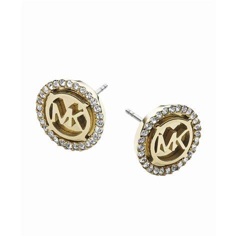 michael kors gold tone mk logo stud earrings fashion