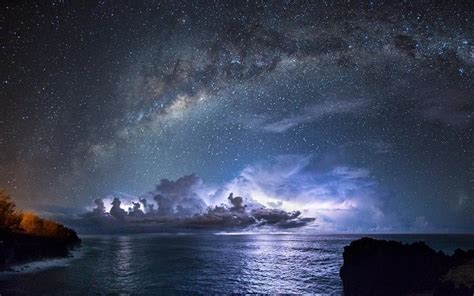 galaxy wallpaper landscape nature landscape starry night milky way galaxy sea