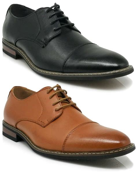H Wood Dress Shoes by Parrazo Dress Shoes Cap Toe Oxford Leather Lined Lace Up Black Brown Wood 4 Ebay