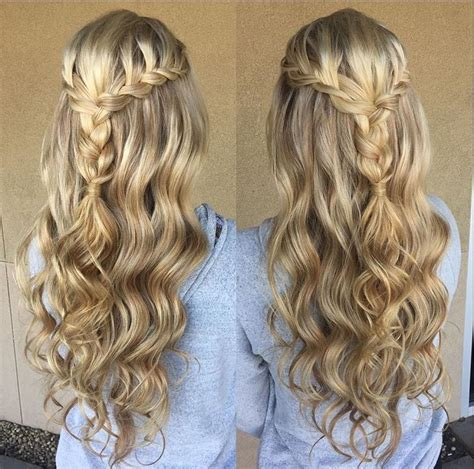 evening hairstyles braids blonde braid prom formal hairstyle half up long hair