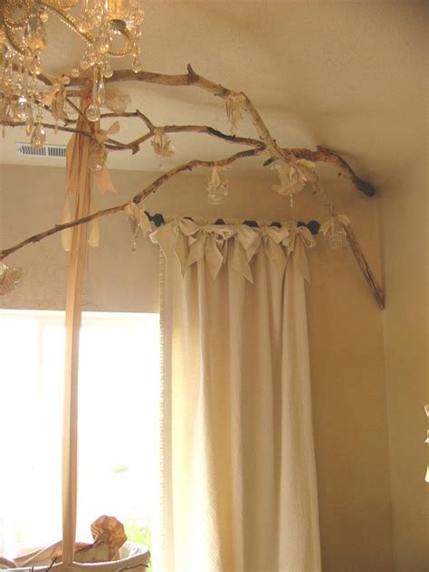 curtains with tree branches shabby chic decorating with birch rustic crafts chic decor
