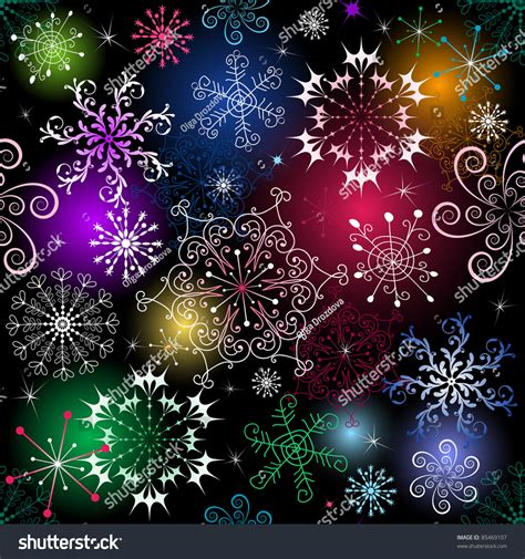 christmas vivid seamless black pattern with snowflakes vector eps 10 85469107