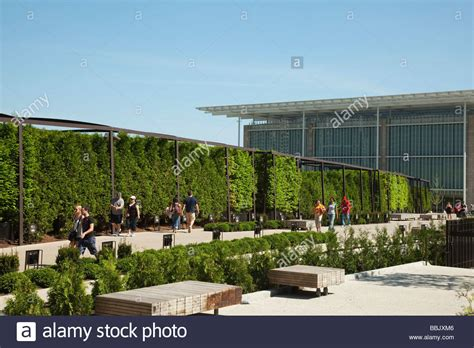 chicago illinois lurie garden in millennium park modern wing of art stock photo royalty free