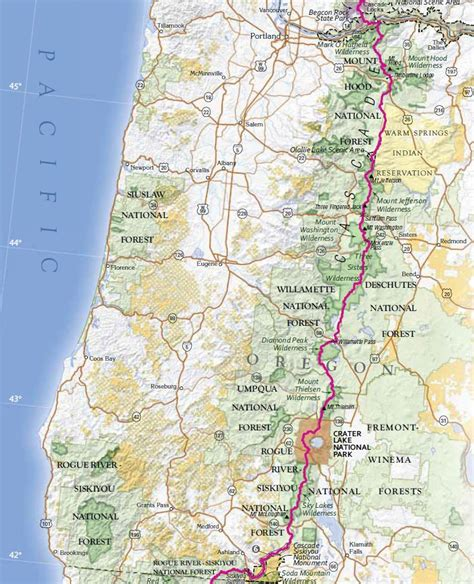 Pct Sections trail map pacific crest trail oregon