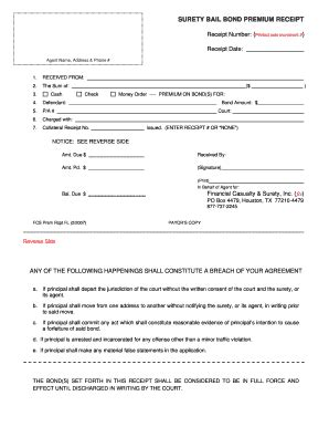 Fillable Online Bail Bond Premium Receipt Fl 02 2007 May 2007fcs Doc Application For Bail Bond Receipt Template