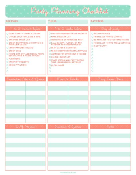 free printable event planning checklist ruff draft free printable party planning checklist