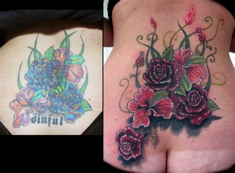 lower back coverup tattoos lower back flower coverup by stefano alcantara