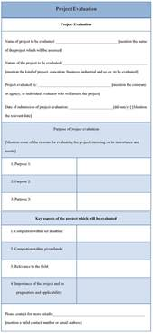 Evaluation Template by Evaluation Template For Project Sle Of Project