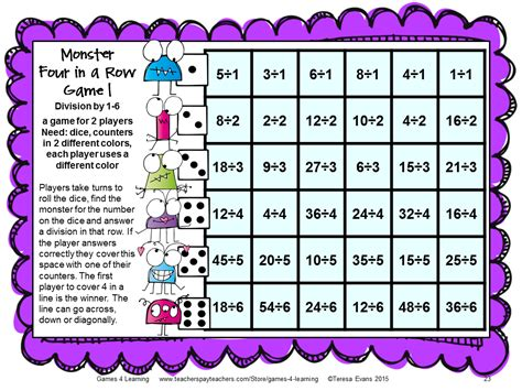 printable math division board games fun games 4 learning monster math games makeover