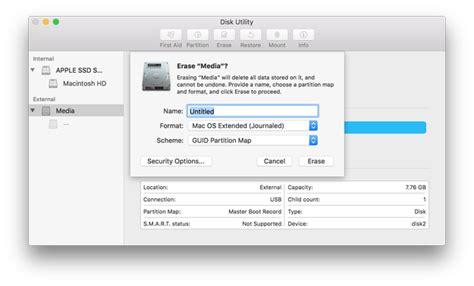 disk utility mac format flash drive create macos sierra usb bootable drive