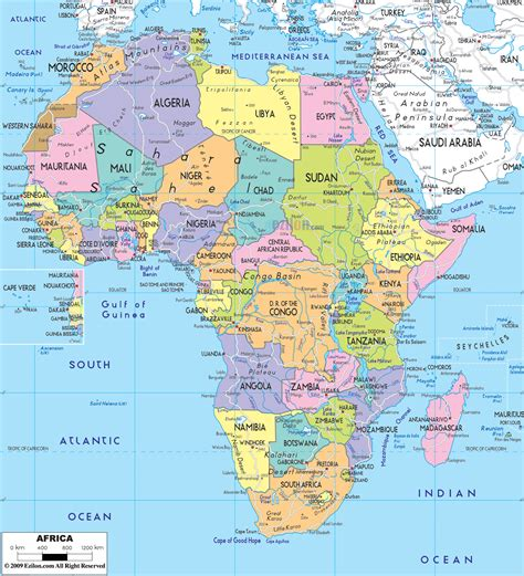 african political map includes north west east