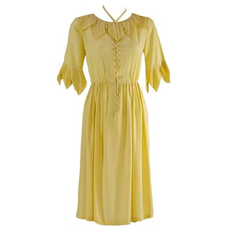 Dress Of The Day Som Silk Dress by 1970s Karl Lagerfeld For Soft Yellow Silk Accordian