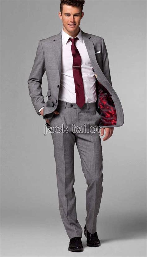 light grey suit shoes wedding groom men suits jacket pants tie custom made