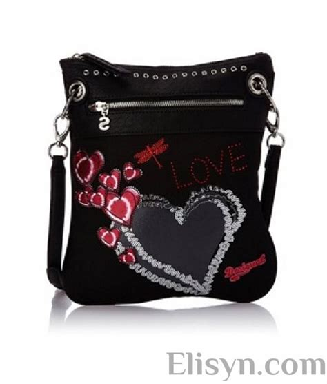 Desigual Bag New Black promotions desigual black bag with hearts