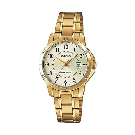 Jam Tangan Wanita 004 Fashion jual casio original jam tangan wanita casual f0122v gold