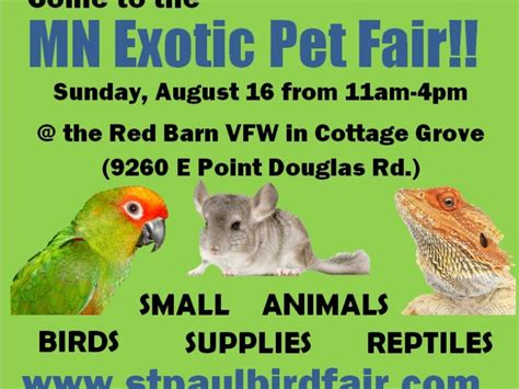 Come To The Exotic Pet Fair In Cottage Grove Sunday Vfw Cottage Grove Mn