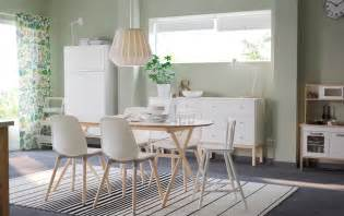 Ikea Dining Room Furniture large dining room with a dining table in white and solid birch
