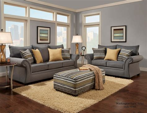 Living Room With Sofa Jitterbug Gray Sofa And Loveseat Fabric Living Room Sets