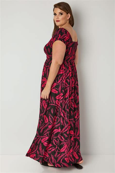 And Color Icon Blush Chagne Blushon Blush On black pink tropical leaf print shirred maxi dress plus