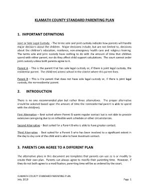co parenting agreement fill online printable fillable
