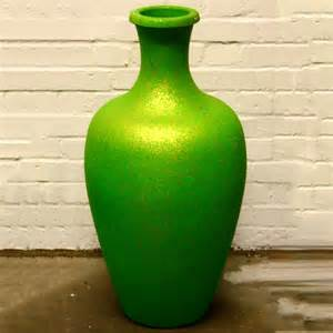 Plastic Vases Green With Gold Speckle Plastic Vase Ten And A Half