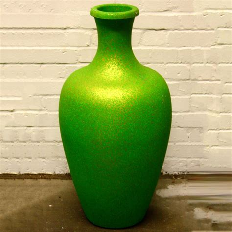 Wholesale Plastic Vases by Green With Gold Speckle Plastic Vase Ten And A Half