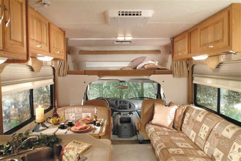 interior picture of the front of a luxury class c motorhome monty s rv cing pictures