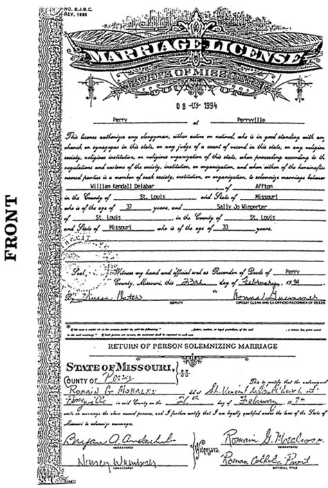 Marriage Records For Missouri Missouri Notary Handbook Missouri Of