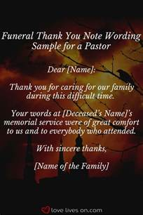 thank you letter to a pastor for funeral services 25 unique funeral thank you notes ideas on
