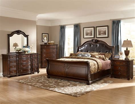 sleigh bedroom furniture sets homelegance hillcrest manor sleigh bedroom set cherry b2169sl bed set at homelement com
