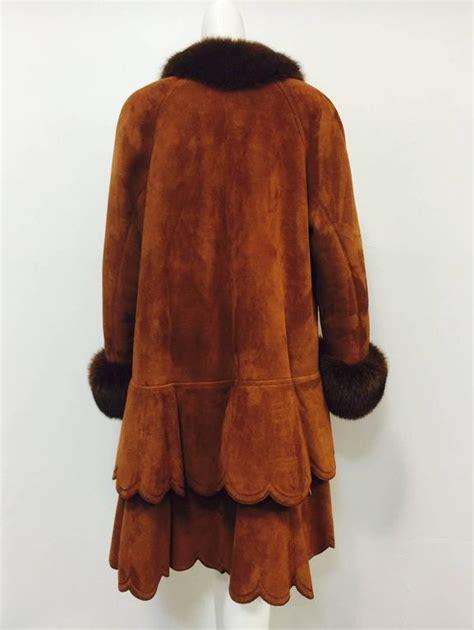 shearling swing coat christia cognac shearling swing coat with fox trim and