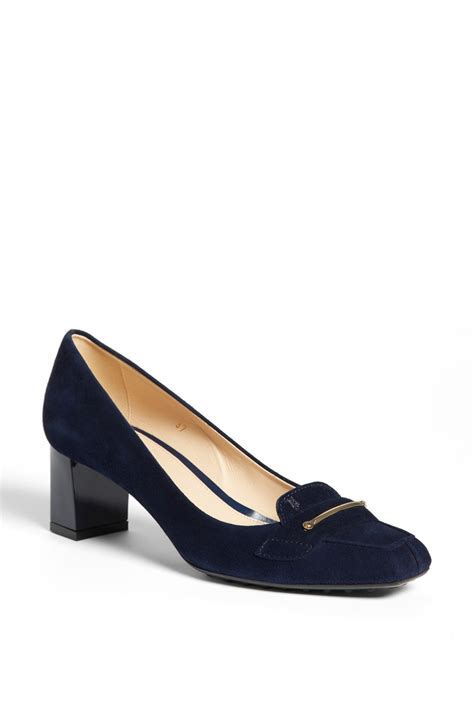 loafer pumps tod s suede loafer in blue navy lyst
