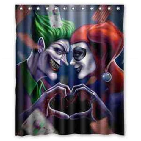 joker shower curtain cheap joker and harley quinn love custom shower curtain 60