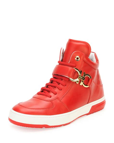 ferragamo sneakers mens ferragamo nayon calfskin high top sneakers in for