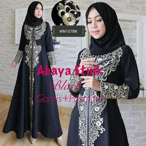 Abaya Gamis Bordir gamis abaya bordir etnik hitam model baju muslim pesta