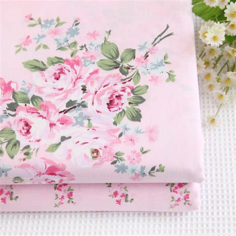 shabby cottage chic fabric by 1 meter floral roses pink 100 cotton fabric shabby chic