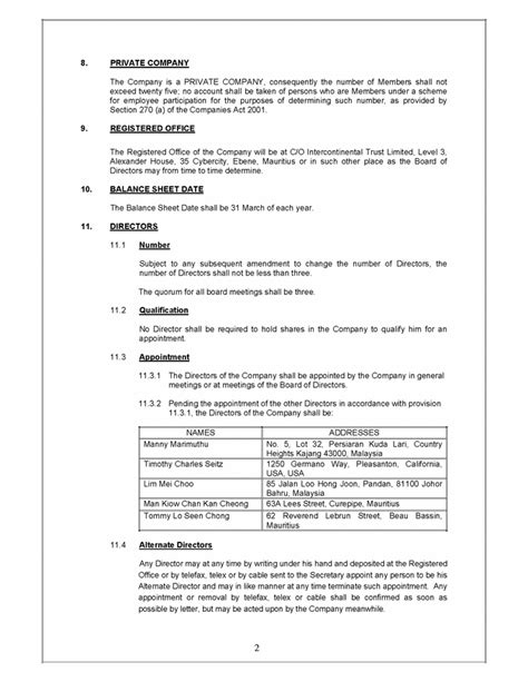 section 10 companies act the companies act 2001 constitution of flextronics