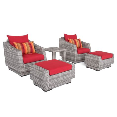 Patio Chair And Ottoman Set Rst Brands Cannes 5 All Weather Wicker Patio Club Chair And Ottoman Conversation Set With