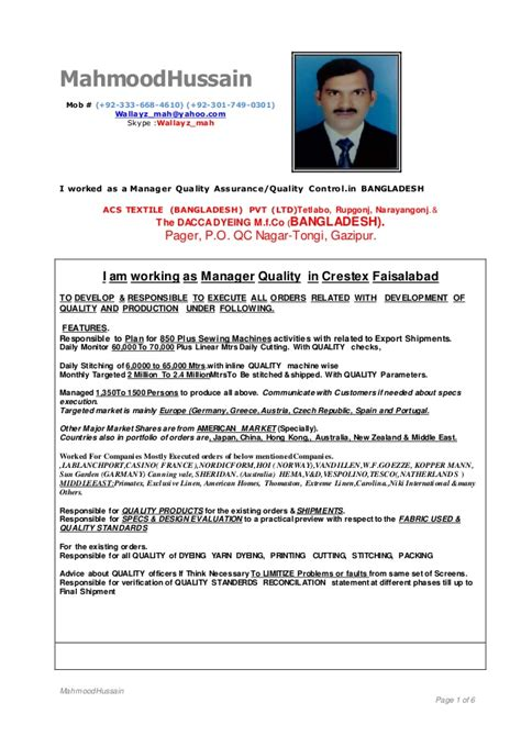 Sle Resume Quality Chemist Resume Format For Quality Assurance In Garments 28 Images Professional Quality Assurance