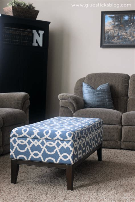 How To Reupholster A Storage Ottoman Gluesticks How To Reupholster A Storage Ottoman