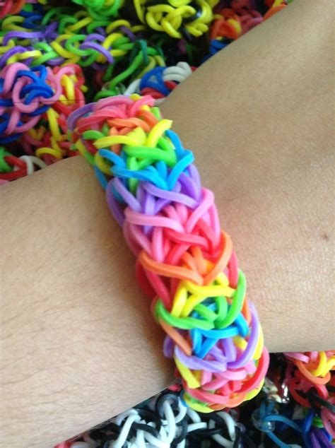 how to make loom bands with thick rainbow rubber band bracelet rainbow looms i made