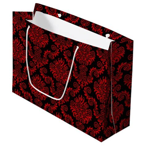 black patterned gift bags black and red damask pattern large gift bag zazzle