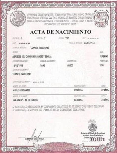 puedo obtener una copia de un certificado de nacimiento actas literales mexicanas nacionalidad espa 209 ola por ley