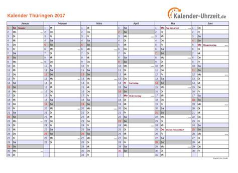 Ausdrucken Kalender 2017 Feiertage 2017 Th 252 Ringen Kalender