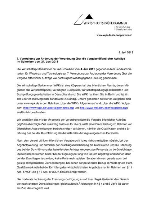 Schreiben Stellungnahme Muster 2013 Wirtschaftspr 252 Ferkammer