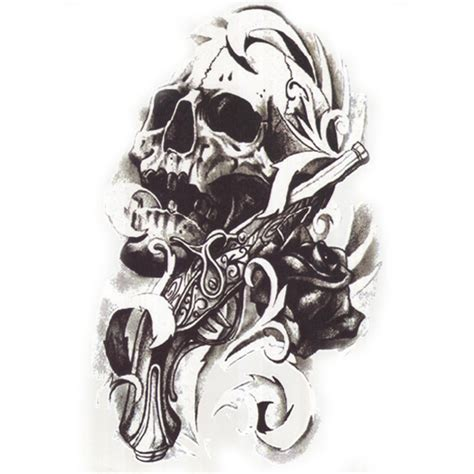 henna tattoo skull designs 1pcs metallic for cool skull guns stickers