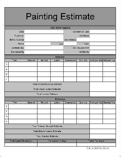 free painting estimate template printable estimate forms lawn care studio design