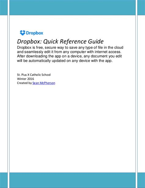 dropbox quick start dropbox quick reference guide