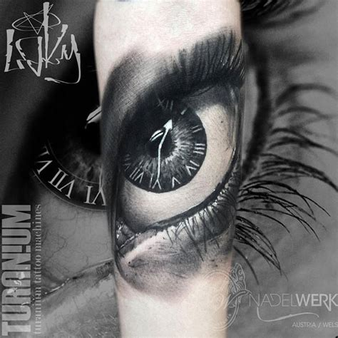 tattoo eye and clock 3d clock eye tattoo on muscles by yomiko moreno