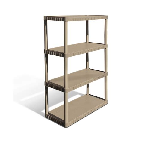 lowes shelving units shop enviro elements 55 in h x 34 in w x 16 in d 4 tier plastic freestanding shelving unit at